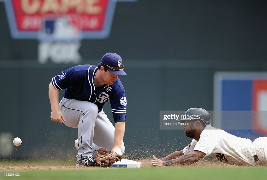 Danny Santana #39 of the Minnesota Twins steals second base as the ball gets past Jedd Gyorko #9 of the San Diego Padres during the sixth inning of the game on August 6, 2014 at Target Field in Minneapolis, Minnesota. The Padres defeated the Twins 5-4 in ten innings.