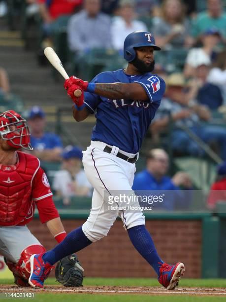 Danny Santana of the Texas Rangers bats against the Los Angeles Angels at Globe Life Park in Arlington on April 17 2019 in Arlington Texas