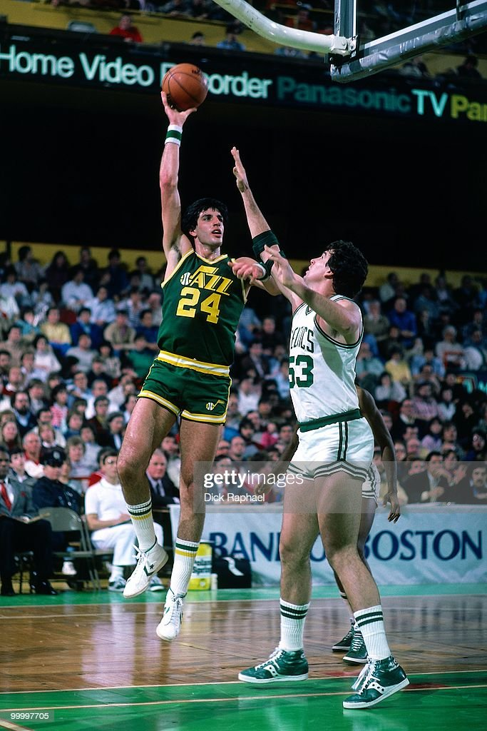 Danny Schayes #24 of the Utah Jazz goes up for a shot against Rick Robey #53 of the Boston Celtics during a game played in 1983 at the Boston Garden in Boston, Massachusetts.