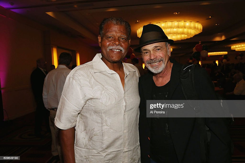 Danny Seraphine meets with baseball star Reggie Smith when he and the band Mystic perform during the March of Dimes Casino Night Hall of Fame Jam at Long Island Marriot on September 21, 2016 in Uniondale, New York.