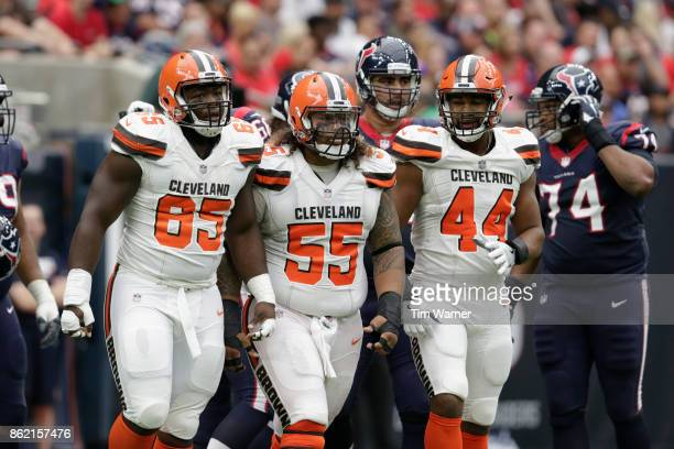 Danny Shelton of the Cleveland Browns, Larry Ogunjobi, and Nate Orchard walk to the line of scrimmage after a first half penalty against the Houston...