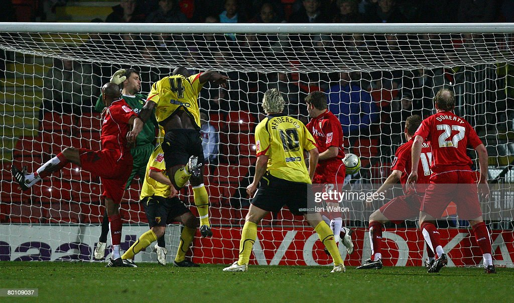 Danny Shittu of Watford scores the first goal during the Coca Cola Championship match between Watford and Norwich City at Vicarage Road on March 04, 2008 in Watford, England.