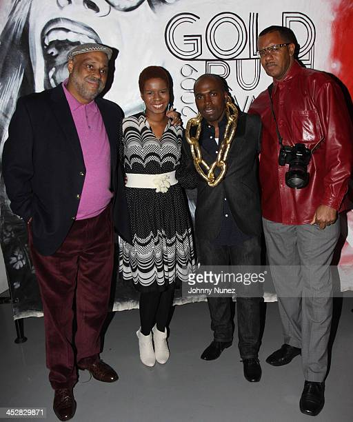 Danny Simmons Tangie Murray Derrick Adams and Jamel Shabazz attend the 2009 Gold Rush awards at the Red Bull Space on February 10 2009 in New York...
