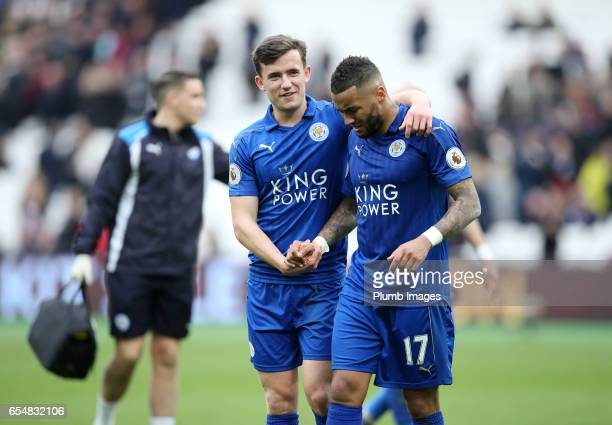 Danny Simpson and Ben Chilwell of Leicester City after the Premier League match between West Ham and Leicester City at London Stadium on March 18...