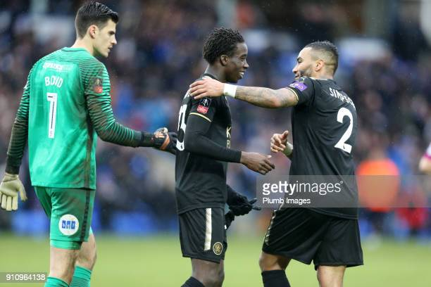 Danny Simpson and Fousseni Diabate of Leicester City celebrate after The Emirates FA Cup Fourth Round tie between Peterborough United and Leicester...