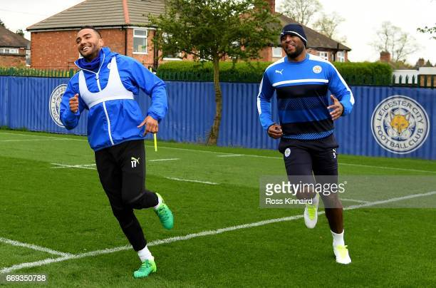 Danny Simpson and Wes Morgan of Leicester City in action during a training session at their Belvoir drive traning centre prior to the Champins League...