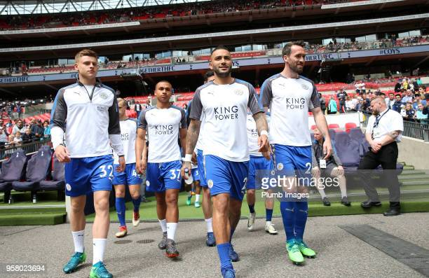 Danny Simpson Christian Fuchs Harvey Barnes and Layton Ndukwu of Leciester City head out to warm up at Wembley Stadium ahead of the Premier League...
