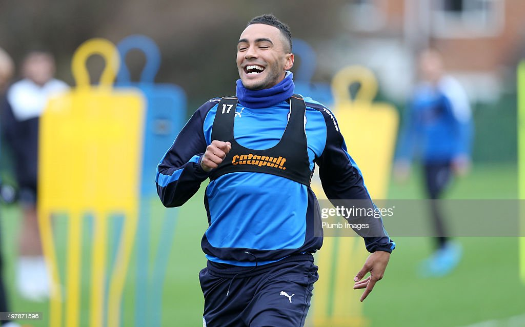 Danny Simpson during the Leicester City training session at Belvoir Drive Training Complex on November 19 , 2015 in Leicester, United Kingdom.