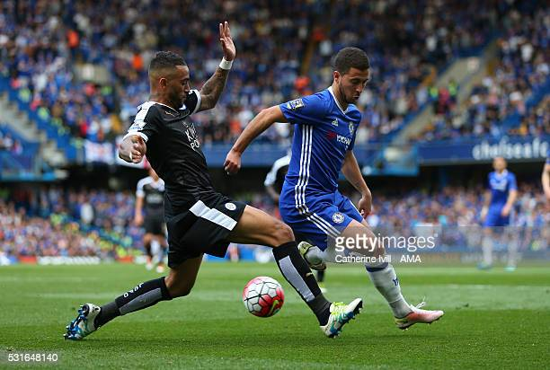 Danny Simpson of Leicester City and Eden Hazard of Chelsea during the Barclays Premier League match between Chelsea and Leicester City at Stamford...
