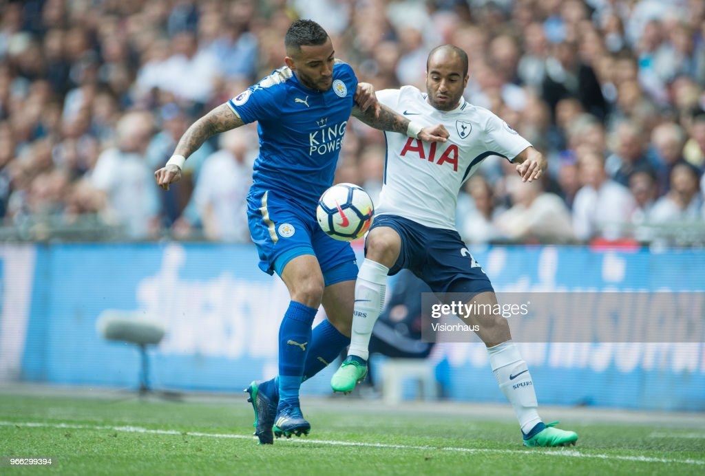 Danny Simpson of Leicester City and Lucas Moure of Tottenham Hotspur during the Premier League match between Tottenham Hotspur and Leicester City at Wembley Stadium on May 13th, 2018 in London, England.