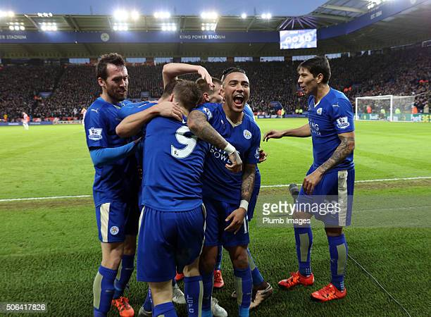 Danny Simpson of Leicester City celebrates with goal scorer Jamie Vardy of Leicester during the Barclays Premier League match between Leicester City...