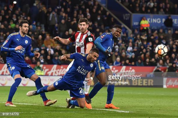 Danny Simpson of Leicester City clears the danger with a diving header during the FA Cup Fifth round match between Leicester City and Sheffield...