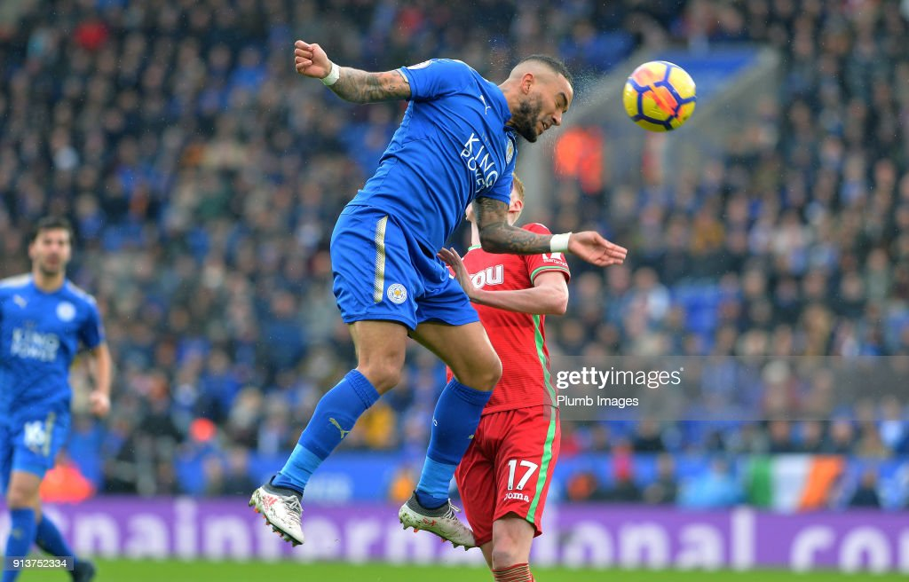 Danny Simpson of Leicester City during the Premier League match between Leicester City and Swansea City at King Power Stadium on February 3rd , 2018 in Leicester, United Kingdom.