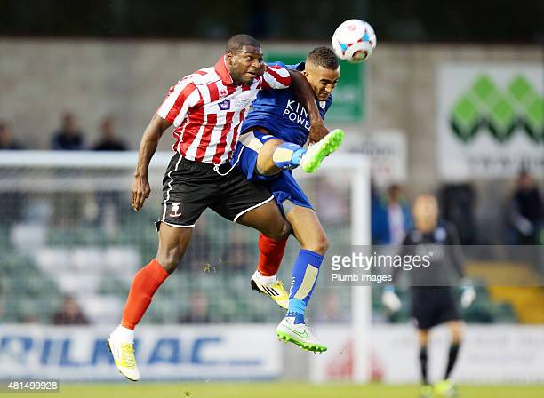 Danny Simpson of Leicester city in action during the preseason friendly between Lincoln City and Leicester City at Sincil Bank Stadium on July 21...
