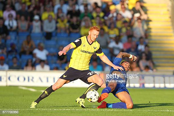 Danny Simpson of Leicester City in action with Ryan Taylor of Oxford United during the pre season friendly between Oxford United and Leicester City...