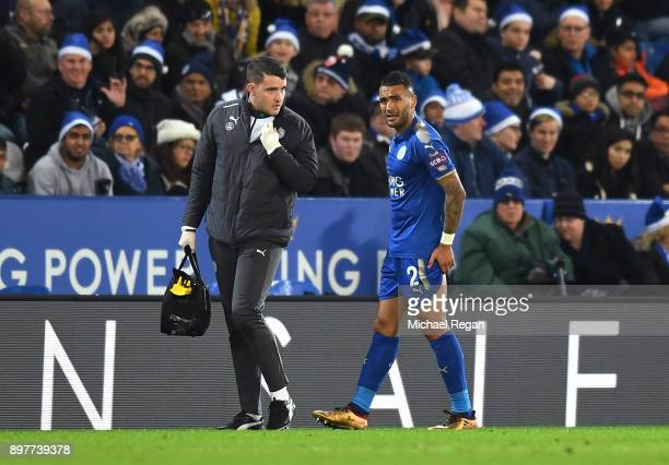 Danny Simpson of Leicester City leaves the field injured during the Premier League match between Leicester City and Manchester United at The King...