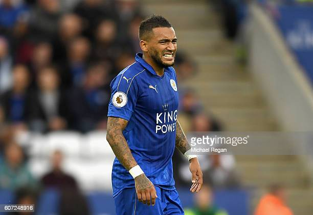 Danny Simpson of Leicester City reacts during the Premier League match between Leicester City and Burnley at The King Power Stadium on September 17...