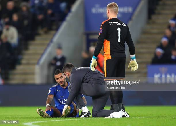 Danny Simpson of Leicester City receives treatment during the Premier League match between Leicester City and Manchester United at The King Power...