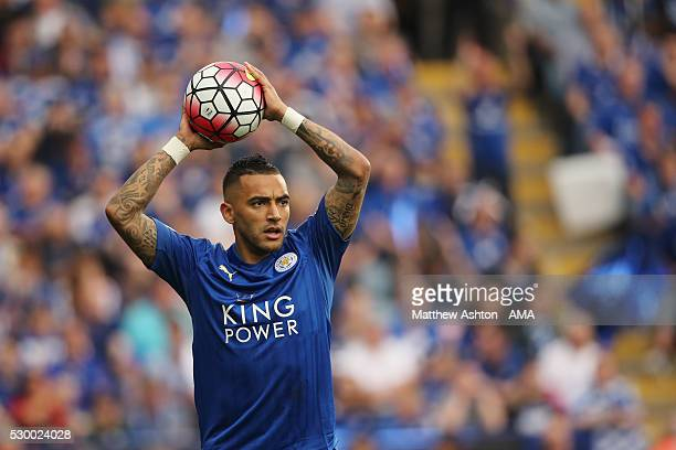 Danny Simpson of Leicester City takes a throw in during the Barclays Premier League match between Leicester City and Everton at The King Power...