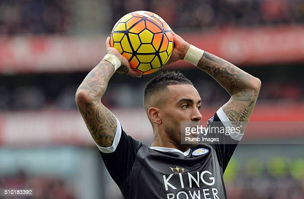 Danny Simpson of Leicester City takes a throw in during the Premier League match between Arsenal and Leicester City at Emirates Stadium on February...