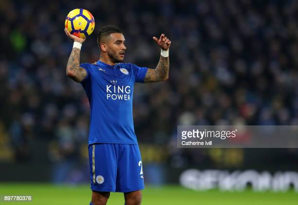 Danny Simpson of Leicester City takes a throw in during the Premier League match between Leicester City and Manchester United at The King Power...