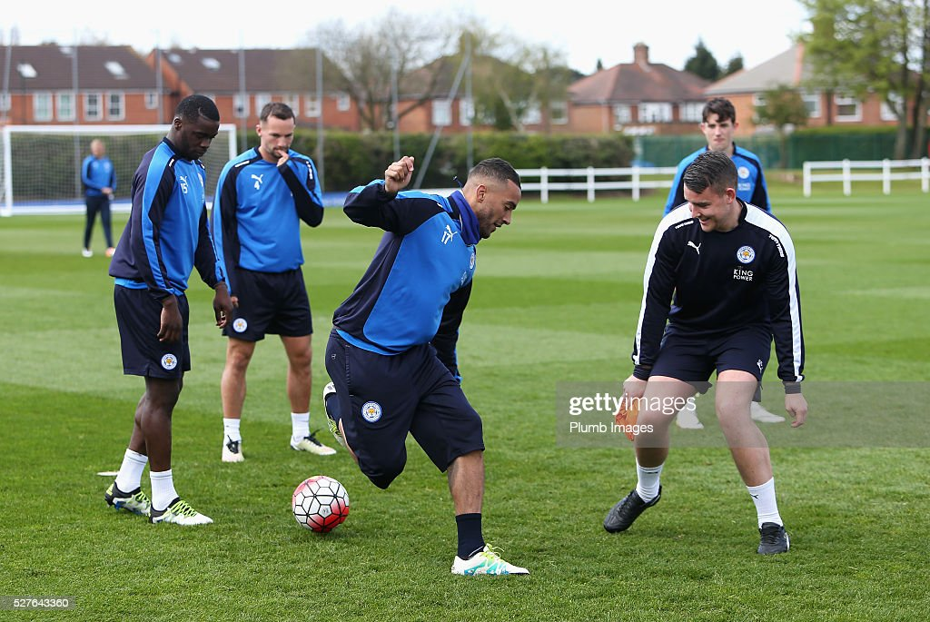 Danny Simpson of Leicester City trains during a Leicester City training session at Belvoir Drive Training Ground on May 3, 2016 in Leicester, England.