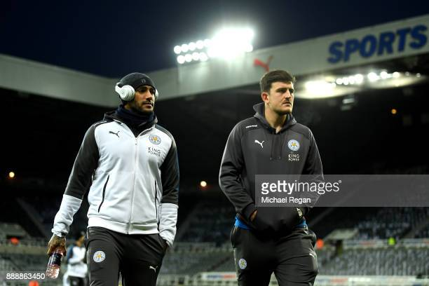 Danny Simpson of Leiceter City an Harry Maguire of Leicester City arrives at the stadium prior to the Premier League match between Newcastle United...