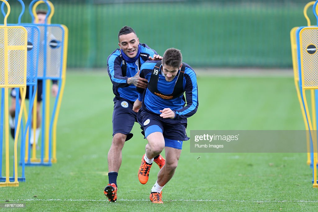 Danny Simpson try's to stop Andrej Kramaric during the Leicester City training session at Belvoir Drive Training Complex on November 19 , 2015 in Leicester, United Kingdom.