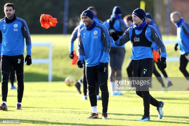 Danny Simpson with Jamie Vardy during the Leicester City training session at Belvoir Drive Training Complex on December 01 2017 in Leicester United...