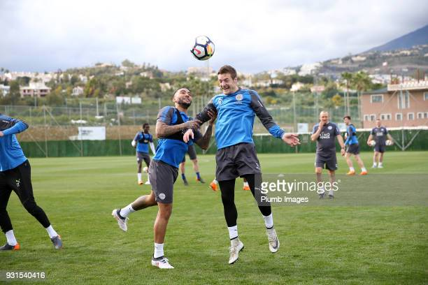 Danny Simpson with Jamie Vardy during the Leicester City training session at the Marbella Soccer Camp Complex on March 13 2018 in Marbella Spain