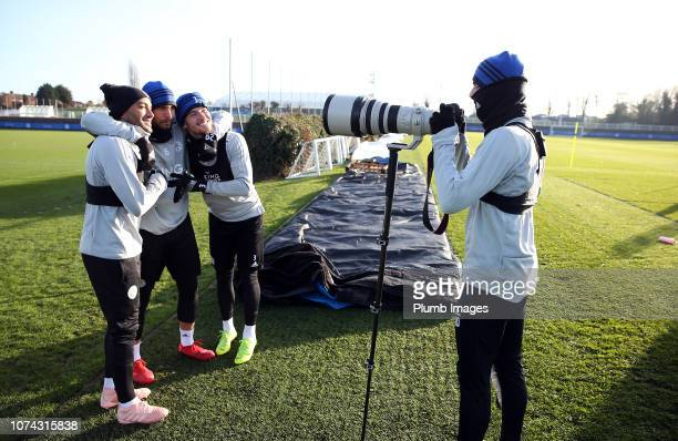 Danny Simpson Yohan Benalouane and Ben Chilwell pose for James Maddison during the Leicester City training session at Belvoir Drive on December 17...