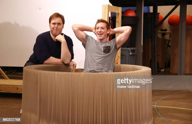 Danny Skinner and Ethan Slater during the press preview rehearsal of the new broadway musical on 'SpongeBob SquarePants' on October 11 2017 at the...