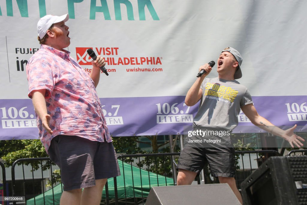 Danny Skinner and Jesse JP Johnson from the cast of 'SpongeBob SquarePants' perform at 106.7 LITE FM's Broadway In Bryant Park at Bryant Park on July 12, 2018 in New York City.