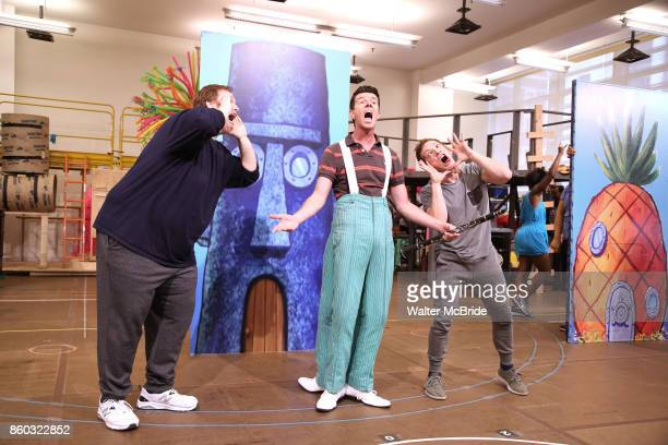 Danny Skinner Gavin Lee and Ethan Slater during the press preview rehearsal of the new broadway musical on 'SpongeBob SquarePants' on October 11 2017...