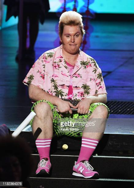 Danny Skinner of the SpongeBob SquarePants musical performs onstage at Nickelodeon's 2019 Kids' Choice Awards at Galen Center on March 23 2019 in Los...