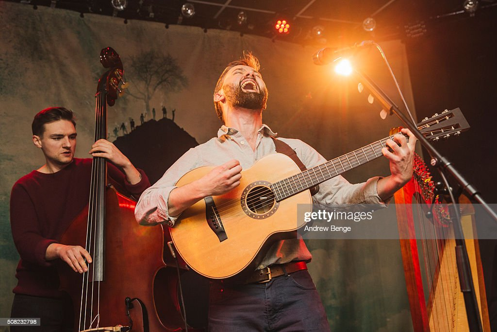 Danny Snow and Conor O'Brien of Villagers perform on stage at Brudenell Social Club on February 3, 2016 in Leeds, England.