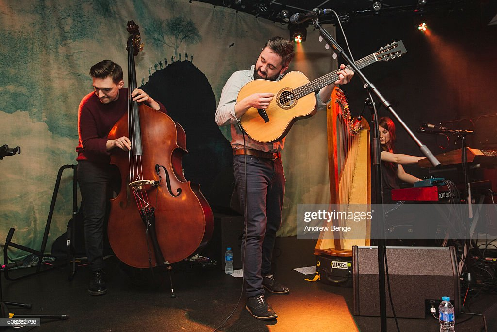 Danny Snow, Conor O'Brien and Mali Llywelyn of Villagers perform on stage at Brudenell Social Club on February 3, 2016 in Leeds, England.