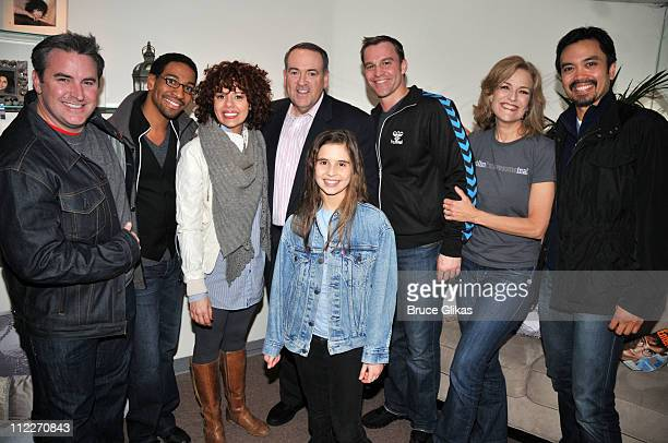 Danny Stiles, Janet Dacal, Mike Huckabee, Carly Rose Sonenclar, Darren Ritchie, Karen Mason and Jose llana pose backstage at the hit musical...