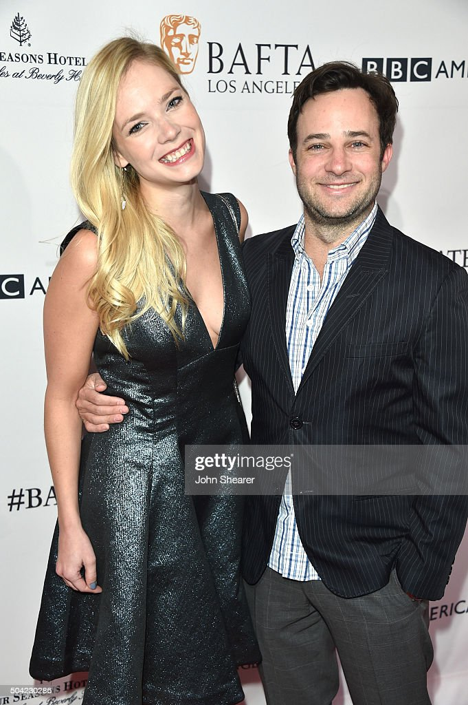 Danny Strong (R) and Caitlin Mehner attend the BAFTA Awards Season Tea Party at Four Seasons Hotel Los Angeles at Beverly Hills on January 9, 2016 in Los Angeles, California.