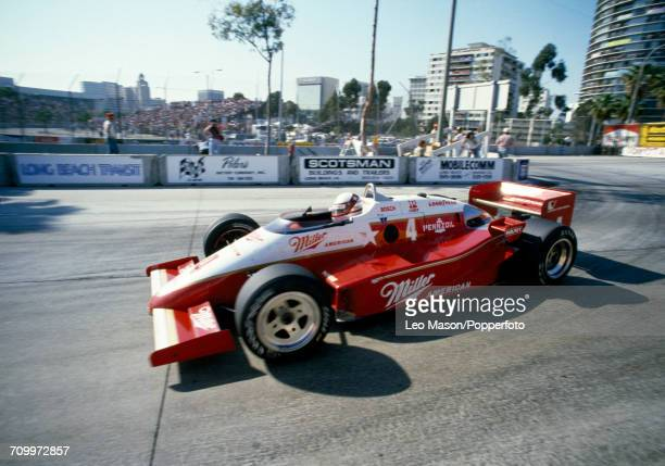 Danny Sullivan of the United States who placed third at the Toyota Grand Prix of Long Beach driving a Team Penske March 85C Cosworth for Miller High...