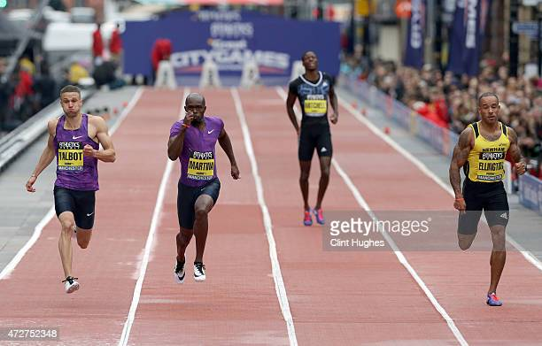 Danny Talbot of Great Britain Churandy Martina of the Netherlands Curtis Mitchell of the United States and James Ellington of Great Britain compete...