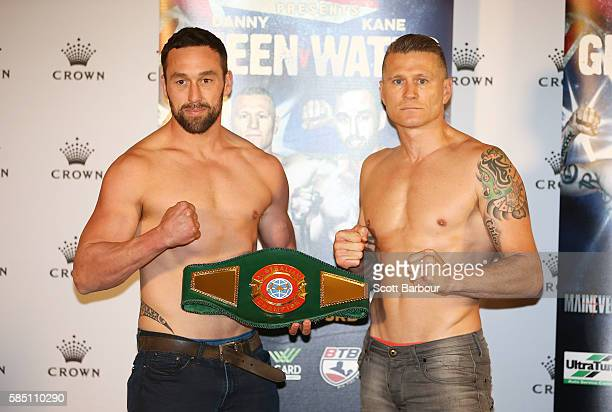 Danny 'The Green Machine' Green and Kane Watts pose during the official weigh in at Crown Resorts on August 2 2016 in Melbourne Australia Green will...
