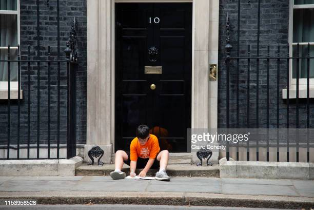 Danny the son of Labour MP Jess Phillips on the steps of Downing Street in London United Kingdom on 5th July 2019 He was left there by his mother in...