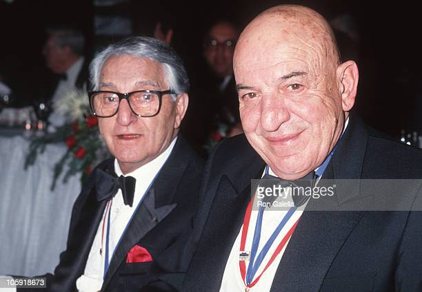Danny Thomas and Telly Savalas during Ellis Island Medals of Honor Awards December 9 1990 at Waldorf Astoria Hotel in New York City New York United...