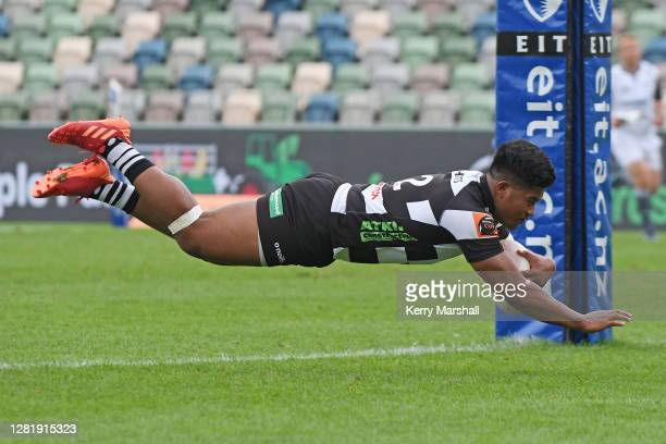 Danny Toala of Hawke's Bay dives to score a try during the round 7 Mitre 10 Cup match between Hawkes Bay and Manawatu at McLean Park on October 24,...