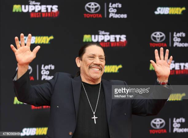 """Danny Trejo arrives at the Los Angeles premiere of """"Muppets Most Wanted"""" held at the El Capitan Theatre on March 11, 2014 in Hollywood, California."""