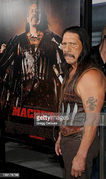 Danny Trejo arrives at the Los Angeles Screening of Machete at the Orpheum Theater on August 25 2010 in Los Angeles California