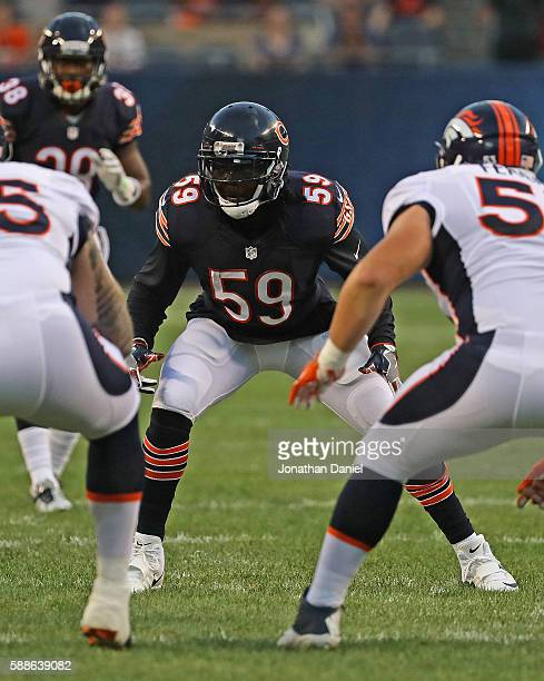 Danny Trevathan of the Chicago Bears awaits the snap against the Denver Broncos at Soldier Field on August 11 2016 in Chicago Illinois