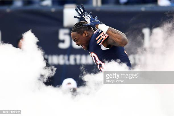 Danny Trevathan of the Chicago Bears is introduced prior to the NFC Wild Card Playoff game against the Philadelphia Eagles at Soldier Field on...