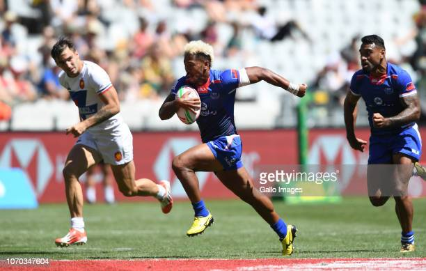 Danny Tusitala of Samoa during day 2 of the HSBC Cape Town Sevens match 35 Challenge Trophy Semi Final match between Samoa vs France at Cape Town...